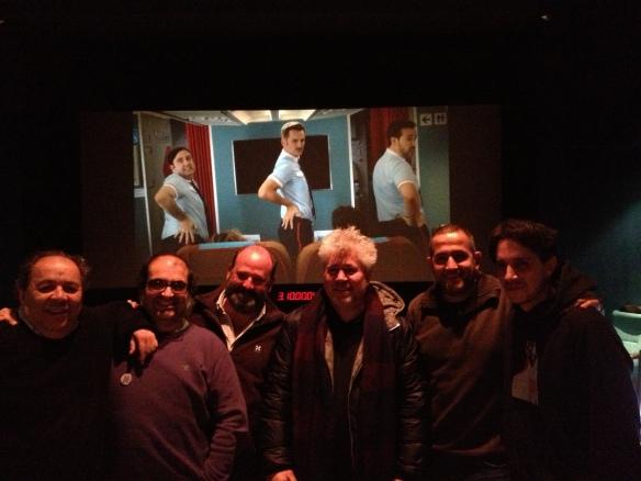 De izq a drch: Pepe Salcedo (montador de imagen), Pelayo Gutiérrez (montador/diseñador de sonido), Iván Marín (sonido en producción), Pedro Amodóvar (director), Marc Orts (mezclador) y