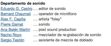 Departamento de sonido de -El artista y la modelo-.