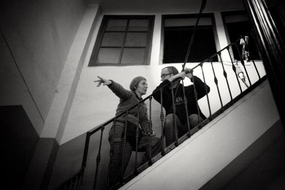 La Sonidista Eva Valiño y su microfonista Iñaki Díez en el rodaje.