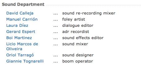 Departamento de sonido de -Los últimos días-.