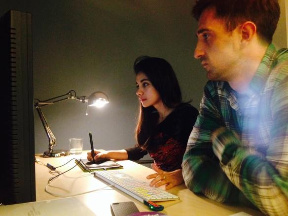 La Editora de diálogos y ADR junto a Oriol Tarrragó