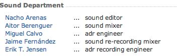Departamento de sonido responsable de -La Herida-.