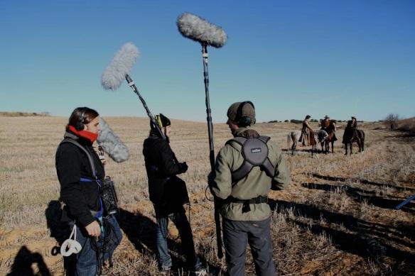 """Rodaje de """"Mañana podría estar muerto"""" (grabando wildtracks de pasadas de caballo para las secuencias de acción). de izquierda a derecha: Julio Cuspinera, rubén martín y roberto hg."""