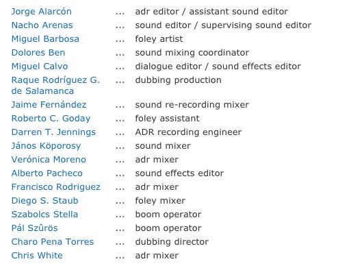 Departamento de sonido de EXTINCTION