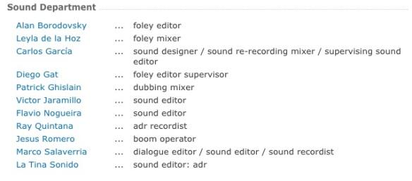 Departamento de sonido de -El Abrazo de la serpiente- Fuente: imdb