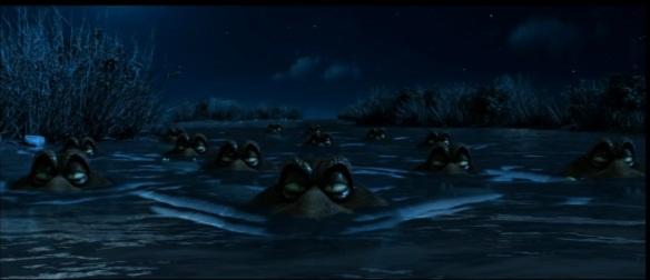 Los alligators preparados para dar caza a los tres protagonistas.