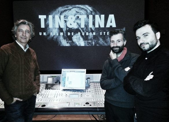 De izqd a drch: Jorge Marín (mezclador de re-grabación), José Tomé (Diseñador de sonido) y el Director y guionista Rubin Stein.